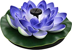 Flantor Artificial Floating Foam Lotus Flowers with Solar Power Water Pump, Realistic Water Lily Pads Decor for Pond Home Garden Patio Aquarium Wedding Party and Swimming Pool (Purple)