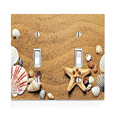 Moonlight Printing Seashells Seashell Beach Ocean Sand on The Coast Double Light Switch Plate: Home & Kitchen