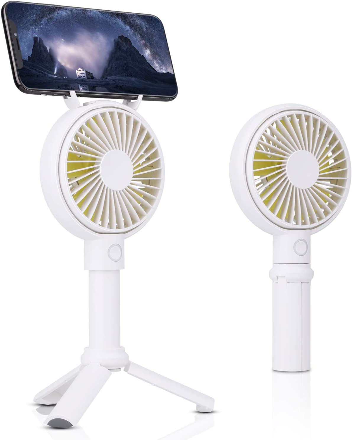 Mini Handheld Fan,XINBAOHONG Personal Portable Desktop Stroller Fan with USB Rechargeable Battery Operated Cooling Folding Electric Fan for Office Room Outdoor Household Traveling (White)
