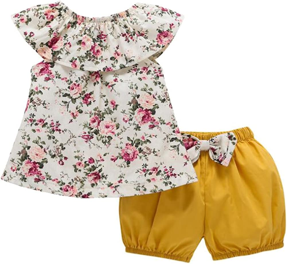 Hwafan Baby Girls 2PCS Flower Ruffle Collar T-Shirt Tops Bowknot Bloomers Shorts Outfit Set