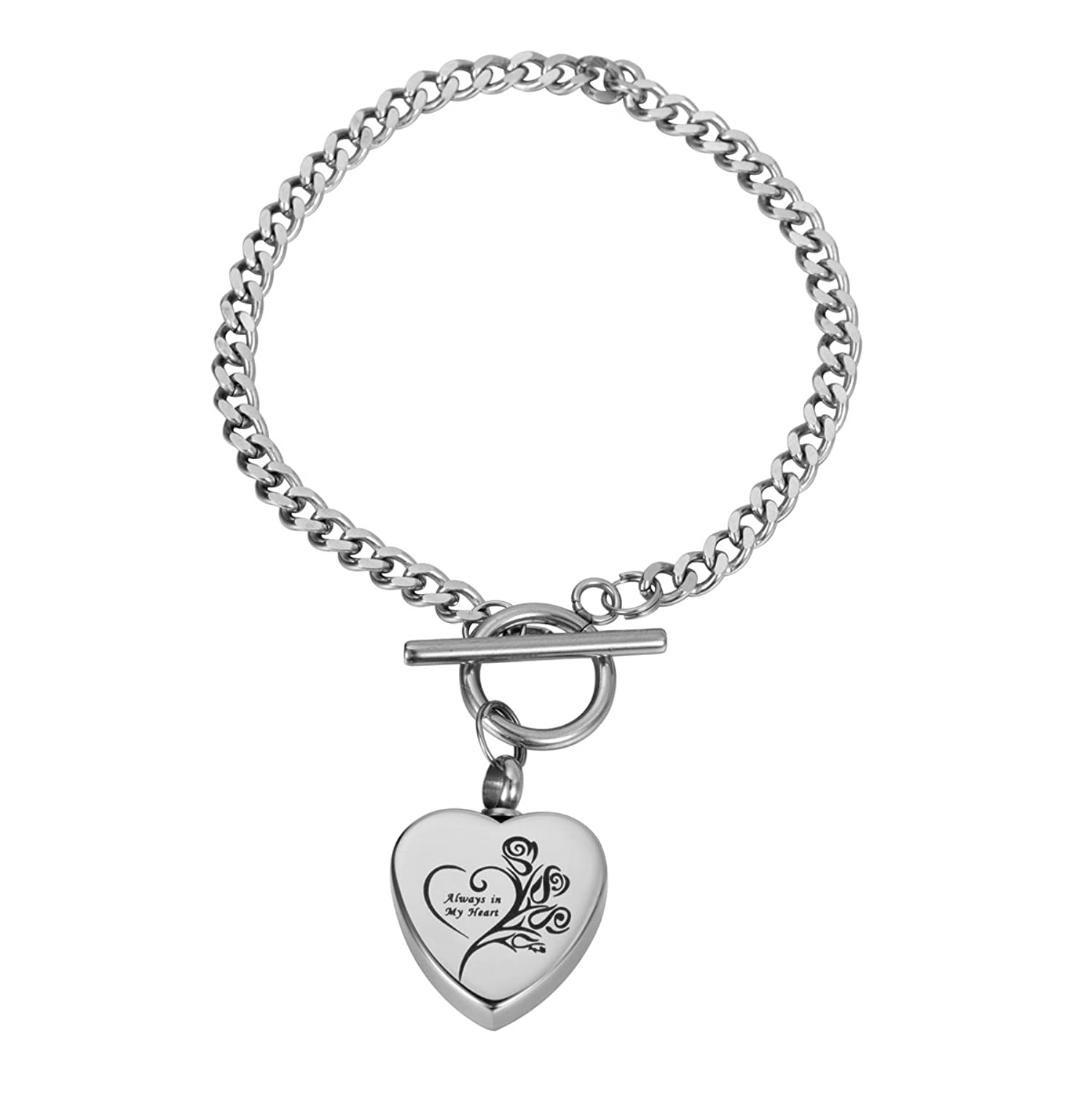 Valyria Stainless Steel Bracelet Always in My Heart Urn Keepsake Cremation Ashes Charm Bracelets oYr90