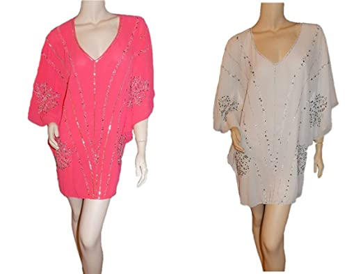 694e1f3e00 Image Unavailable. Image not available for. Colour: New Look Premium  Embellished Beach Kaftan Cover Up Coral & White ...