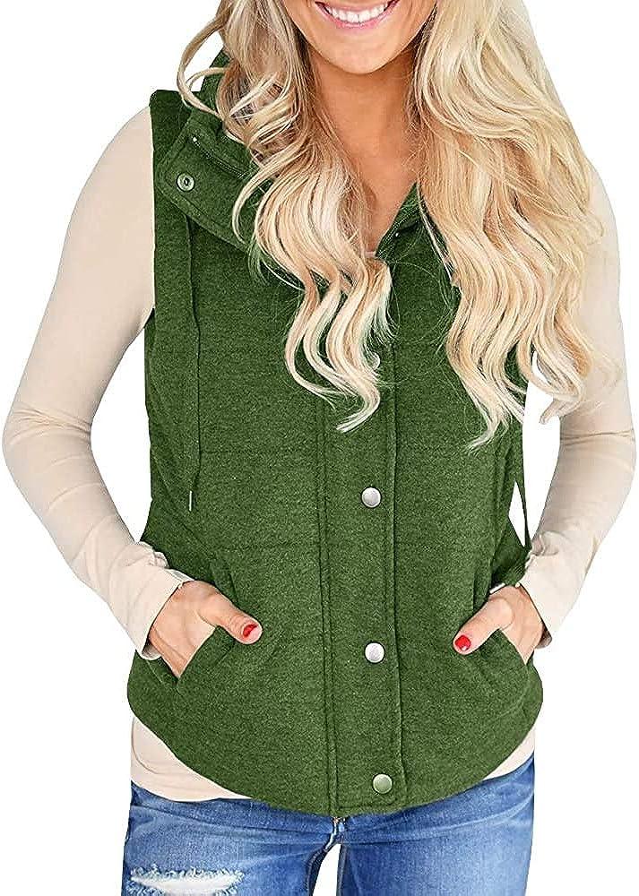 Hestenve Womens Corduory Vest Sleeveless Quilted Jacket Lightweight Gilet Outwear