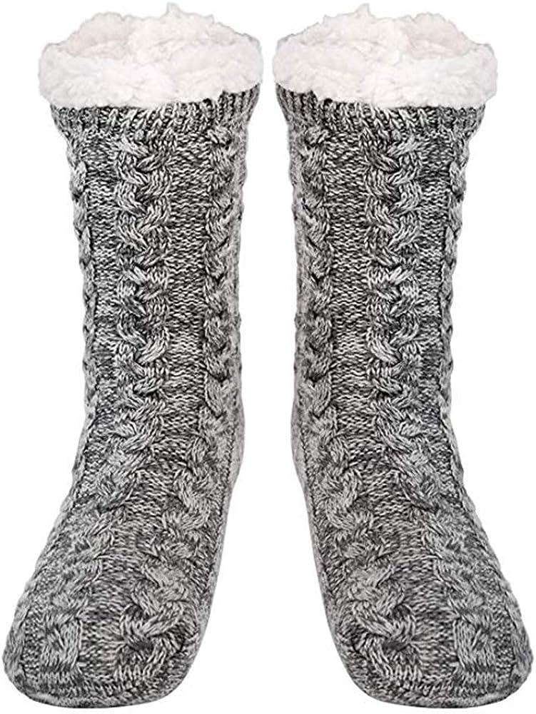 QDY Calientapiés térmicos Calcetines interiores de lana extracálidos Calcetines extra suaves y esponjosos para mujer Calcetines antideslizantes con forro polar de invierno