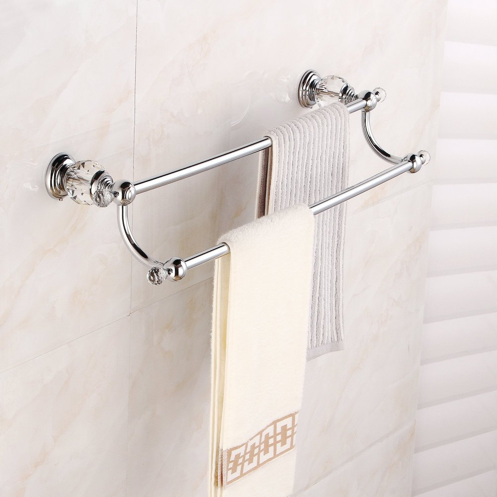 (Double bar) Beelee BA5202C Brass & Crystal Series Bath Towel Rack Bathroom Shelf with Double Towel Bar 60 CM Storage Organiser Wall Mount, Chrome Finish B072PRC8BTDouble Bar