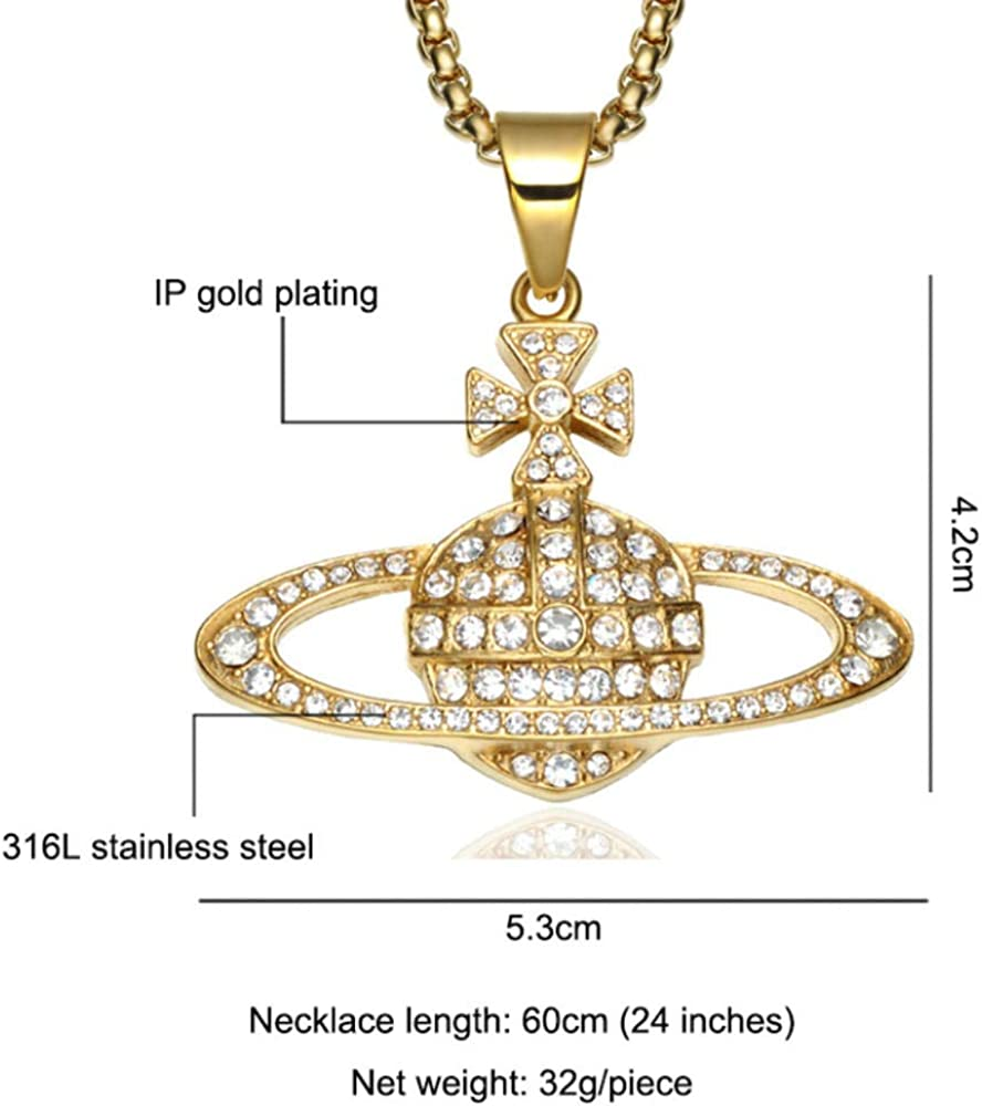 WANGXJ European and American Stainless Steel Dovetail Cross Planet Ball Necklace Pendant Titanium Steel Saturn Halo Necklace Jewelry