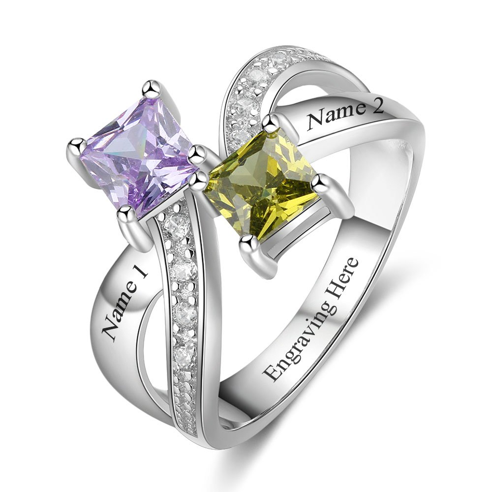 Love Jewelry Personalized Women Rings with 2 Created Birthstones 2 Names Engraved Mothers Rings Promise Rings for Her (8)