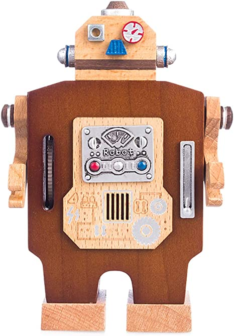 GQQ Madera Caminar Robot Mecanismo Caja De Música,Creativo Niño ...