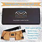 Young Builder leather kids tool belt set - children's tool pouch with leather hammer loops and carpenter pencils