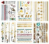 Metallic Color Hawaiian Temporary Tattoos - 75 Beach Sea Life Designs in Gold Silver Tropical Colors (6 Sheets) Terra Tattoos Alana Collection