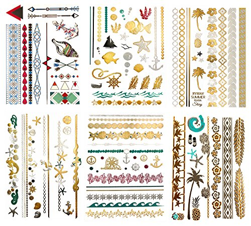 03d4816a98869 Terra Tattoos Metallic Color Temporary Tattoos - 75 Hawaiian Sea Life  Designs in Gold, Silver
