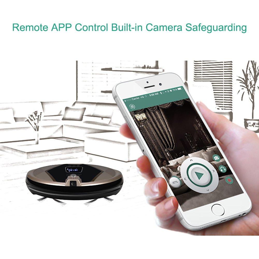 JISIWEI S+ Robot Aspirador Inteligente, con cámara HD de seguridad 1080p, Control Remoto por APP móvil (Android y iOS) , conexión Wifi, Color dorado: ...