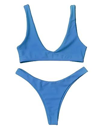 d76789ab64 Amazon.com  ZAFUL Women Padded Scoop 2 PCS Bikini Swimsuit V Thong  Brazilian Bottom Bra Set  Clothing