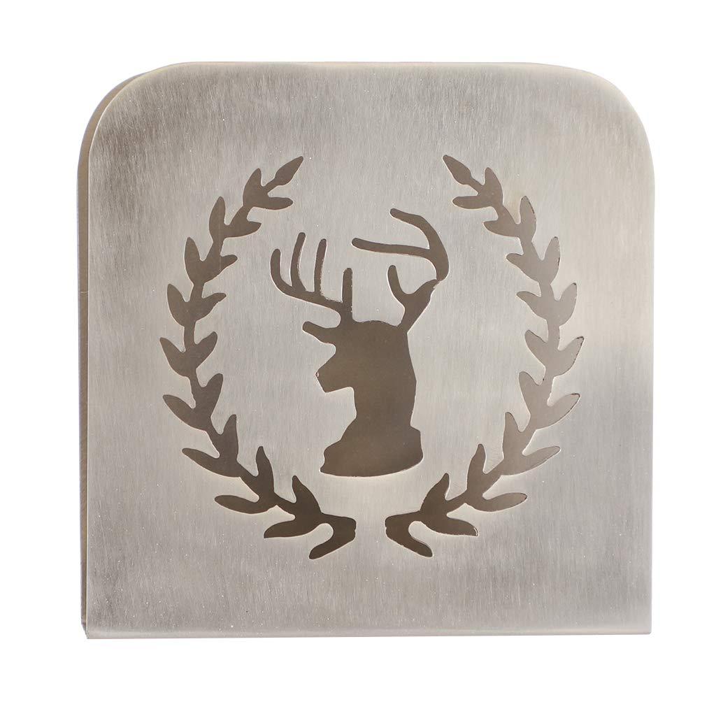 Dibor Acciaio INOX spazzolato argento portatovaglioli con cervo e corona Cut out design