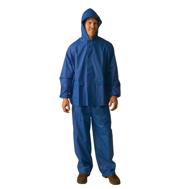 Texsport Two-Piece Laminated Nylon Rainsuit (Blue, Large)