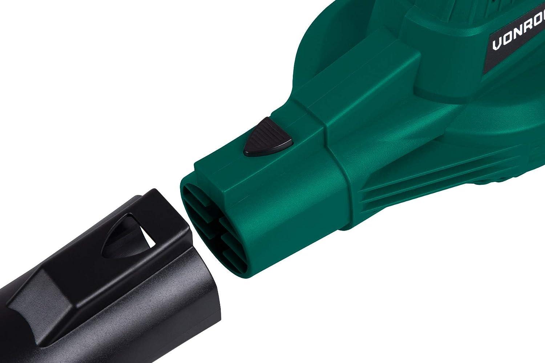 Komplettset inkl 2 Gebl/äsepositionen VONROC Akku-Laubbl/äser VPower 20V Maximale Gebl/äseleistung 190 km//h 1x 2.0Ah-Akku und Schnellladeger/ät
