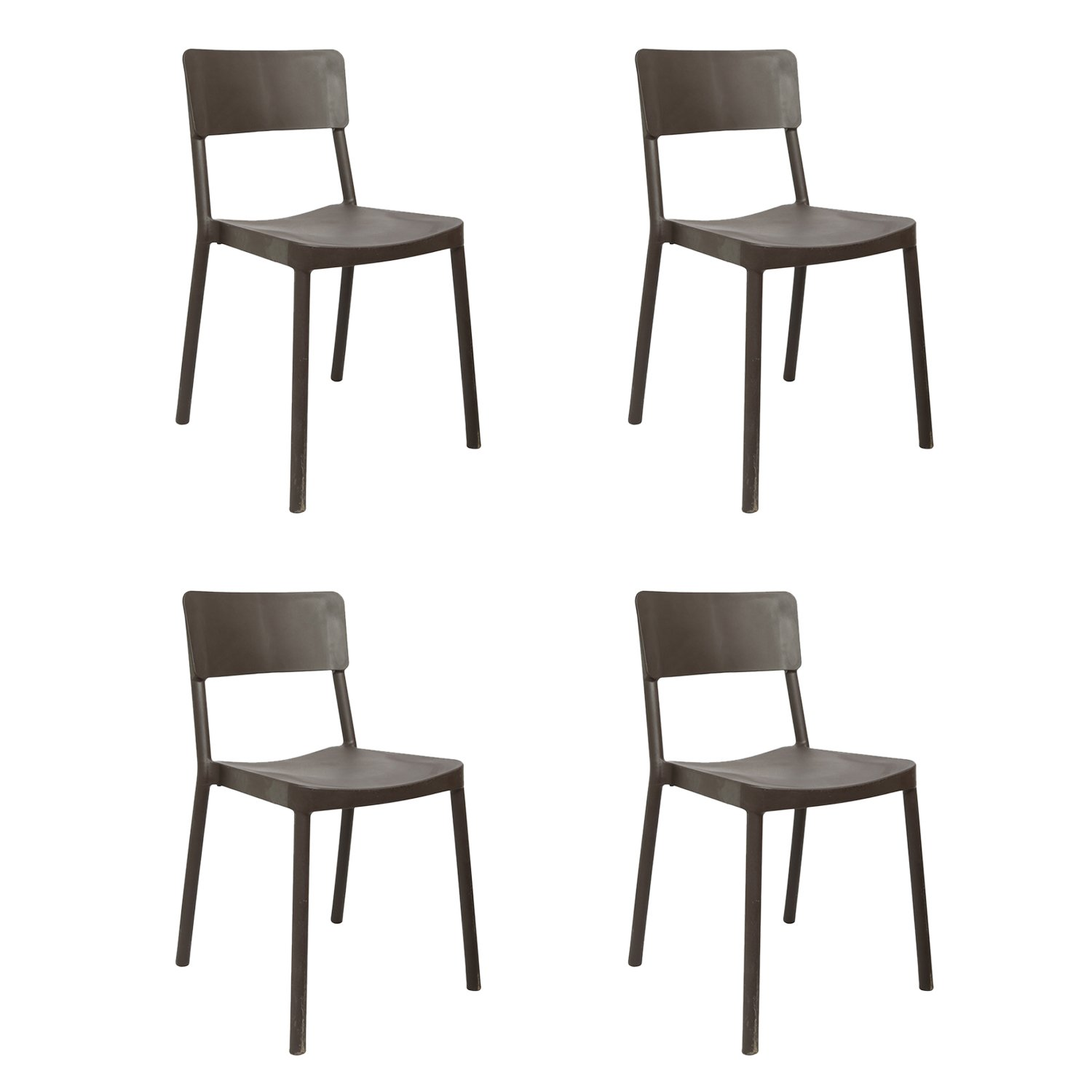 Cello Eskimo Cafeteria Set of 4 Chairs (Brown)