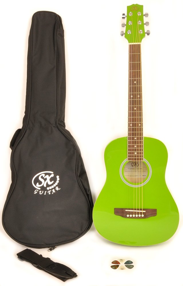 SX RSM 1 34 JGN LH 3/4 Size Left Handed Jellybean Green Acoustic Guitar Package, Black with Carry Bag, Strap, and Guitar Picks Included