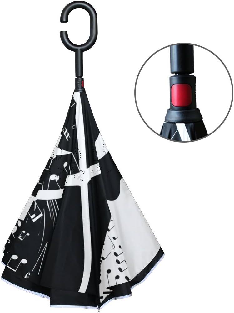 Jstel double couche invers/é Note de musique Parapluie Cars Envers coupe-vent Parapluie pour auto ext/érieur avec poign/ée en forme de C