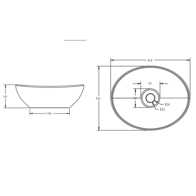 Lavandino Bagno 41x33.1x14cm Br/üssel205 in Ceramica Nano Rivestimenti Inclusi Bianco Opaco Mai /& Mai Lavabo da Appoggio
