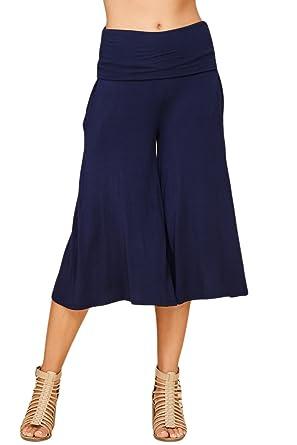 16c940acc41 Annabelle Women s Fold Over Waist Wide Leg Culotte Gaucho Capri Pants  X-Large Navy P9023