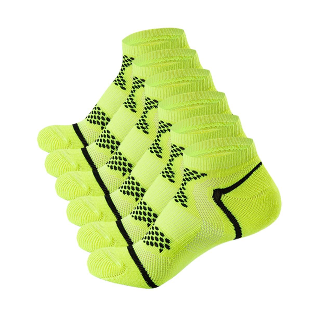AIRSTROLL Athletic Socks Low Cut Mens Women Running Socks No Show Ankle Socks Performance Cushioned Tab Socks 6 Pairs (Green, S/M)