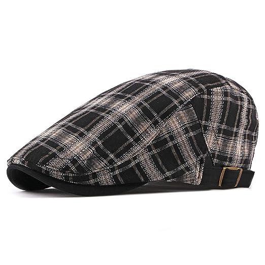 ZLSLZ Mens Womens Adjustable Plaid Newsboy Cabbie Gatsby Golf Beret Hat Cap  282Black 435e5831b017