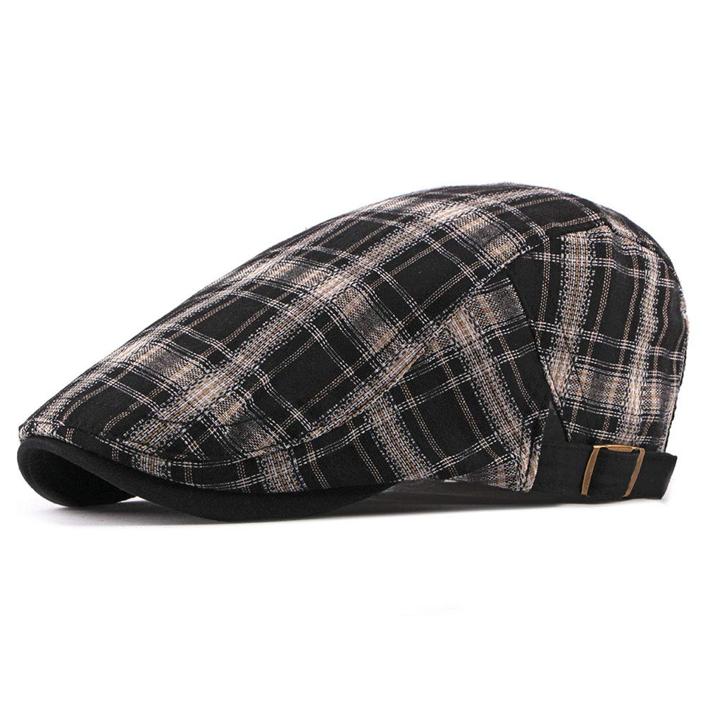 ZLSLZ Mens Womens Adjustable Plaid Newsboy Cabbie Gatsby Golf Beret Hat Cap 282Black