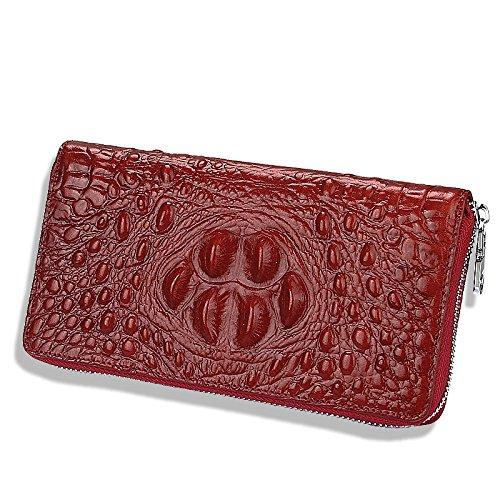 Red Crocodile Pochette Longue Portefeuille Zipper Hommes Vintage Femmes Cuir Motif Sac Classique Pochette zxw1741