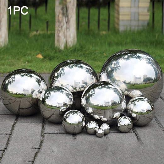 WiseGe 1 Pieza 304 Bola Hueca de Acero Inoxidable Bola de Espejo sin Costura Bola esférica Fija decoración del Ornamento del jardín del hogar-80mm: Amazon.es: Jardín