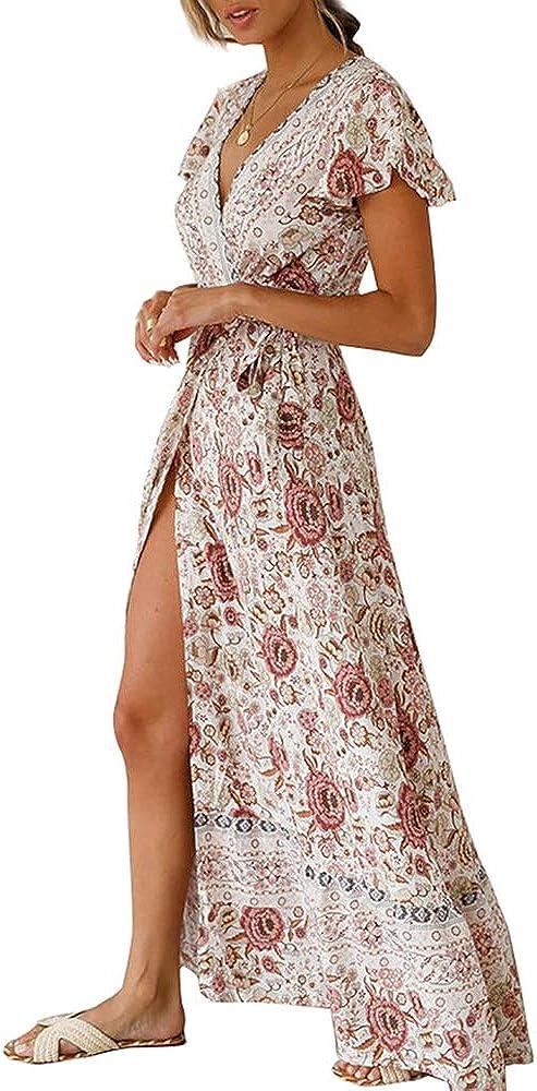haashpylien Robes Boheme Femme /Ét/é /à Manches Courtes Robe Maxi Chic Robe Longues Imprim/é Florale Long Robe /Él/égante Col V Robe Soir/ée avec Ceinture