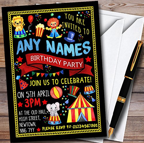 Amazon Black Kids Circus Carnival Clown Personalized Childrens Birthday Party Invitations Toys Games
