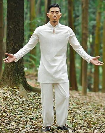 peiwen Hombres es Comodo Outdoor Sports Wear Chino de Algodon Natural y el  Traje de Lino Ropa de Yoga Tops y Pantalones  Amazon.es  Deportes y aire  libre e921a39d68c8