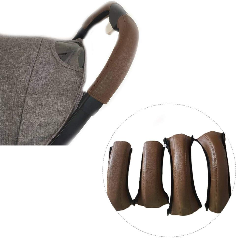 Blueyouth Leather Armrest Cover for Baby Stroller, 4PCS Universal Cart Handrail Protective PU Leather Cases for Pushchair Handgrip, Anti-bacterial and Sweat-absorbing.