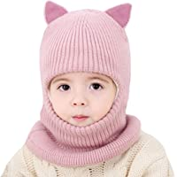 Kids Winter Hat, Baby Knit Hat, Baby Girls Boys Winter Hat, Thick Scarf Earflap Hood Scarves Skull Caps, 1-4 Years