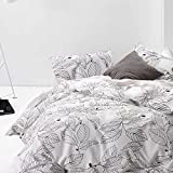 Tree Duvet Cover Set King, 100% Cotton Bedding, Black Leaves Modern Pattern Printed on White, with Zipper Closure (3pcs, King Size)