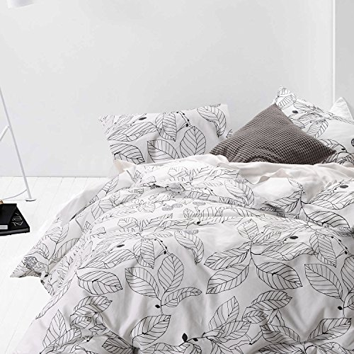 Wake In Cloud 3pc Cotton Duvet Cover Set, FULL, White Black Leaf