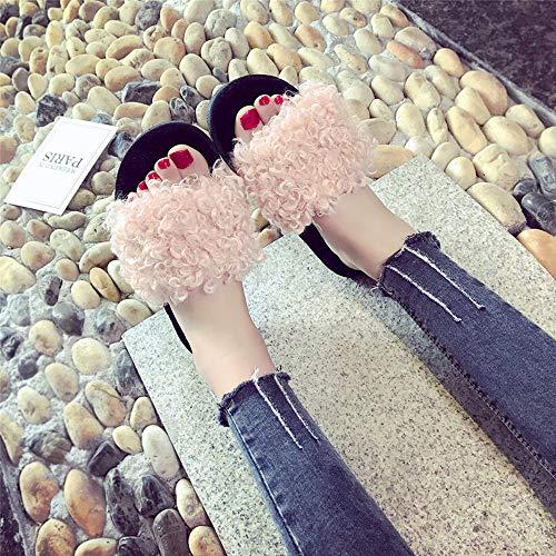 Soffice Pantofola Slip Yesmile Ecologica Pantofola Piatto Flip Sliders Con In Donna Scarpe Pelliccia On Flops Casual Ciabatte Sandali Spiaggia Sandal Scarpe Da Donna Basse Rosa Da wtqx60