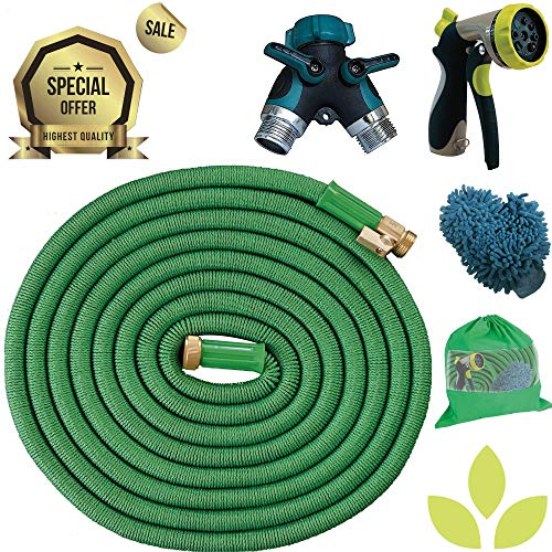 Expandable Garden Hose COMBO 100 Ft Long | Heavy Duty Water Hose | FREE Heavy Duty Metal Spray Nozzle, Microfiber Car Wash Mitt & 2 Way Splitter | Retractable Hose for Gardening RV Motorhome