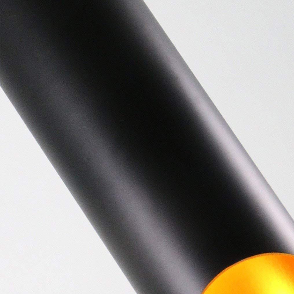 Moderne Suspension Industrielle Noir Tube Rond en Aluminium Aluminium Bouche Oblique Suspension Personnalit/é Creative Loft Unique Deco Hauteur R/églable Suspension E27 /Ø12CM Max 40W 230V Salle /à XFZ