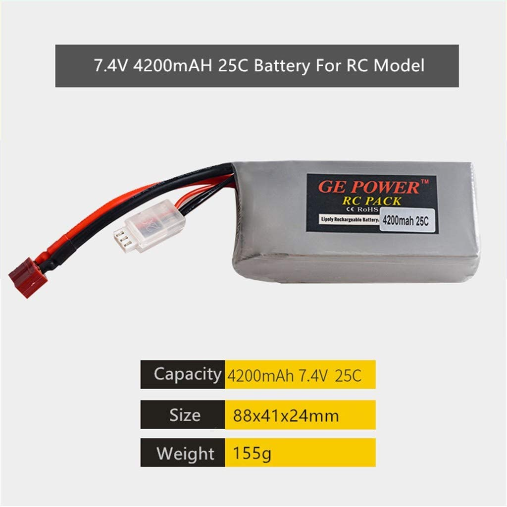 FINEjuyudd 2PCS Upgrade 7.4V 4200mAH 25C Battery Part for WLTOYS 12428 12429 RC Model