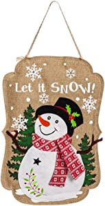 Evergreen Flag Sparkle Snowman Lighted Burlap Door Decor