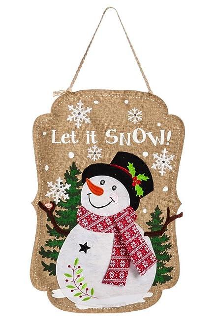 Evergreen Sparkle Snowman Lighted Burlap Door Decor  sc 1 st  Amazon.com & Amazon.com: Evergreen Sparkle Snowman Lighted Burlap Door Decor ...