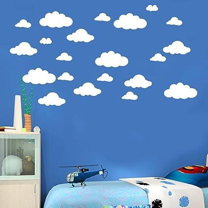 Moonuy DIY 31 pcs Nuages Blancs Sculptés Stickers Muraux Bricolage Grands  nuages stickers Muraux Enfants Chambre Décoration Art Autocollant Stickers  ...