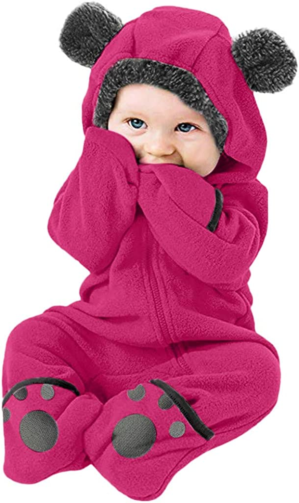 Voberry Toddler Newborn Infant Baby Cartoon Ears Hoodie Romper Clothes Toddler Girls Boys Zipper Jumpsuit
