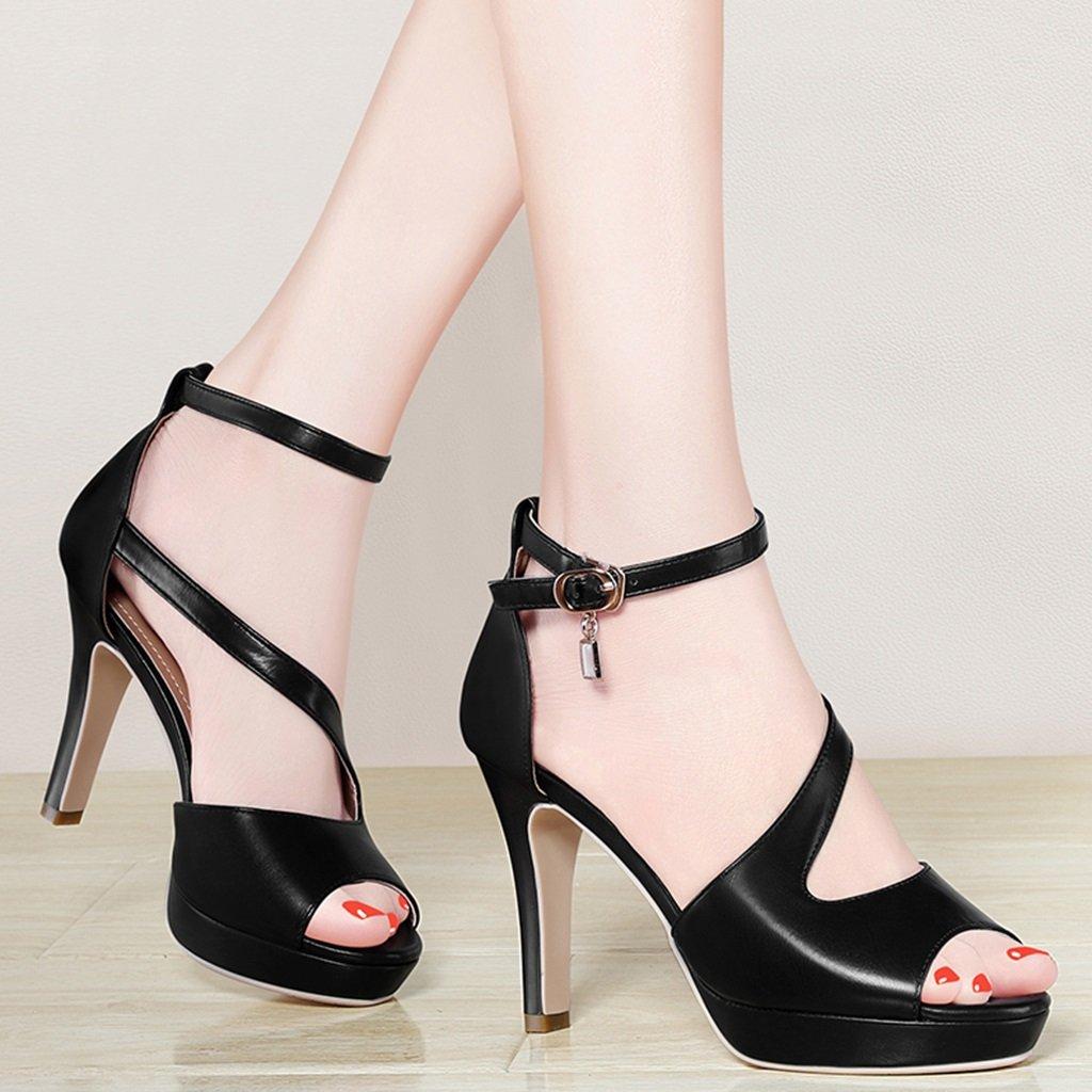 Damenschuhe HWF Damen Sandalen Sommer Stilettos (Farbe 34) : Schwarz, größe : 34) (Farbe  Schwarz 81bd08