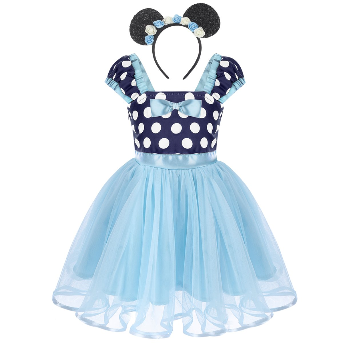 FYMNSI Baby Girls Polka Dots Princess Ballet Tutu Dress Birthday Party Halloween Dress Up Costume Outfits with Headband