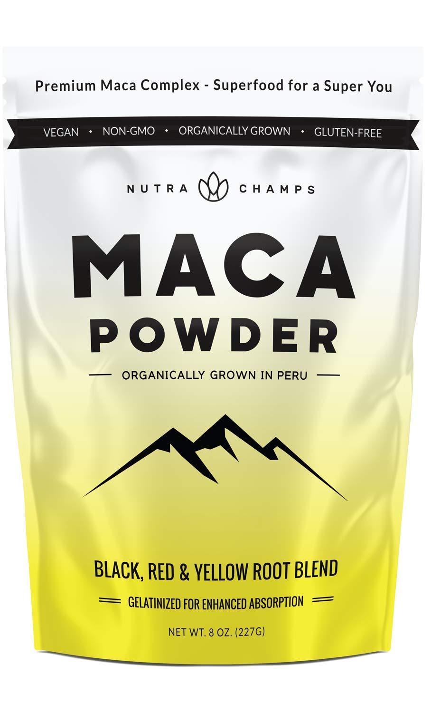 Organic Maca Powder - Peruvian Grown Maca Blend with Yellow, Black & Red Roots - Gelatinized for Superior Bioavailability - Natural, Vegan Non-GMO 8oz. Bag