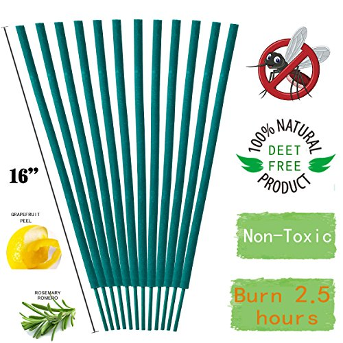 Leelife Mosquito Sticks - Natural and DEET Free Insect Repellent Incense Stick - Bamboo infused with Citronella, Lemongrass and Rosemary Each Stick Burns for 2.5 Hours