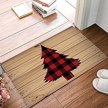 Amazon Com Buffalo Plaid Christmas Tree Doormat Non Slip